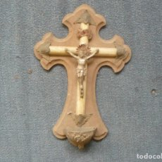 Antigüedades: BENDITERA DE MADERA Y CRISTO DE PLATA SIGLO XIX. Lote 122862739