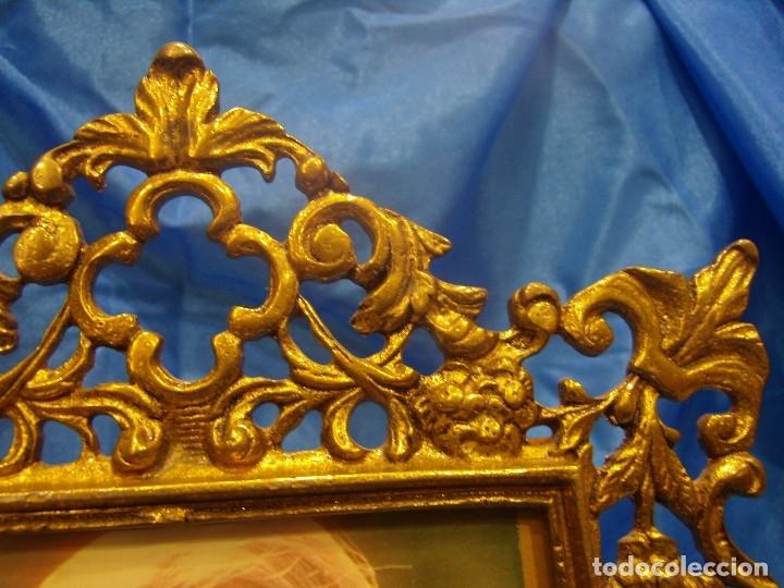 Antigüedades: Marco portafotos de Bronce dorado Barroco,años 60,para fotos de18 x 13cm,tamaño portafo29x22cm,Nuevo - Foto 4 - 86937892