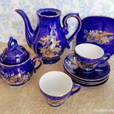 Antigüedades: JUEGO TE CAFÉ LOTE PORCELANA JAPON AZUL DORADO TETERA TAZAS PLATOS AZUCARERA FAISANES PAJAROS. Lote 122916303