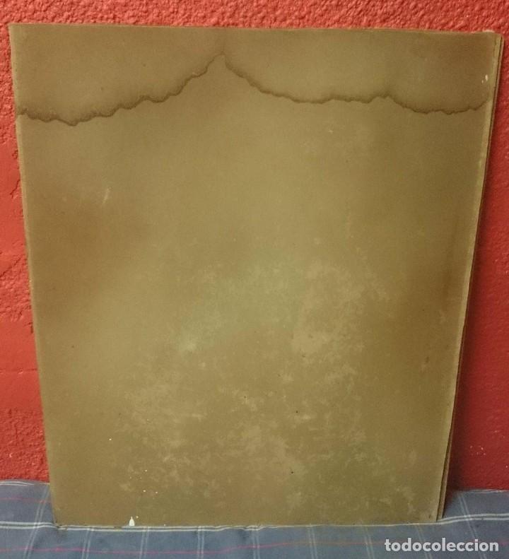 Antigüedades: Antigua cromolitografía de San Antonio del siglo XIX. 65x53cm - Foto 2 - 172347183