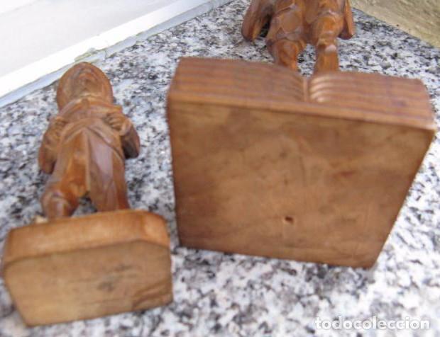 Antigüedades: TALLA MADERA ANTIGÜA PAREJA DE FIGURAS DON QUIJOTE Y SANCHO PANZA - Foto 3 - 160859805