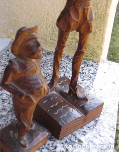 Antigüedades: TALLA MADERA ANTIGÜA PAREJA DE FIGURAS DON QUIJOTE Y SANCHO PANZA - Foto 6 - 160859805