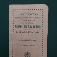 Antigüedades: MILAGROSO NIÑO JESÚS DE PRAGA, NOVENA, TRIDUO, 1922. Lote 122948739