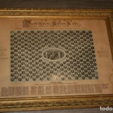 Antigüedades: LAMINA CON TODOS LOS PAPAS DE ROMA HASTA LEÓN XLLL CON MOTIVO DE SU JUBILEO SACERDOTAL, AÑO 1878. . Lote 122957047