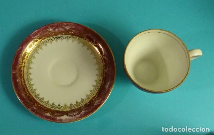 Antigüedades: TAZA Y PLATO DE PORCELANA. MARCA EN BASE SANTA CLARA, VIGO - Foto 3 - 122963275