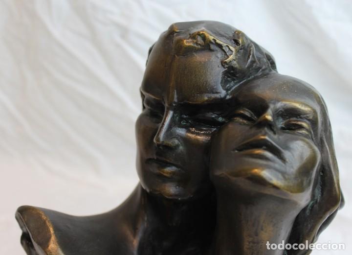 Antigüedades: Escultura,busto hombre y mujer,modelados en resina,recubrimiento bronce - Foto 2 - 122998851