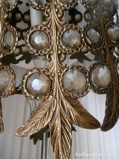 Antigüedades: LAMPARAS 3 LUCES DE TECHO BRONCE Y CRISTAL - Foto 3 - 123029811