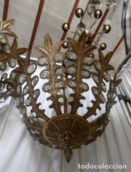 Antigüedades: LAMPARAS 3 LUCES DE TECHO BRONCE Y CRISTAL - Foto 4 - 123029811