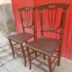 Antigüedades: PAREJA DE SILLAS ANTIGUAS. Lote 123039567