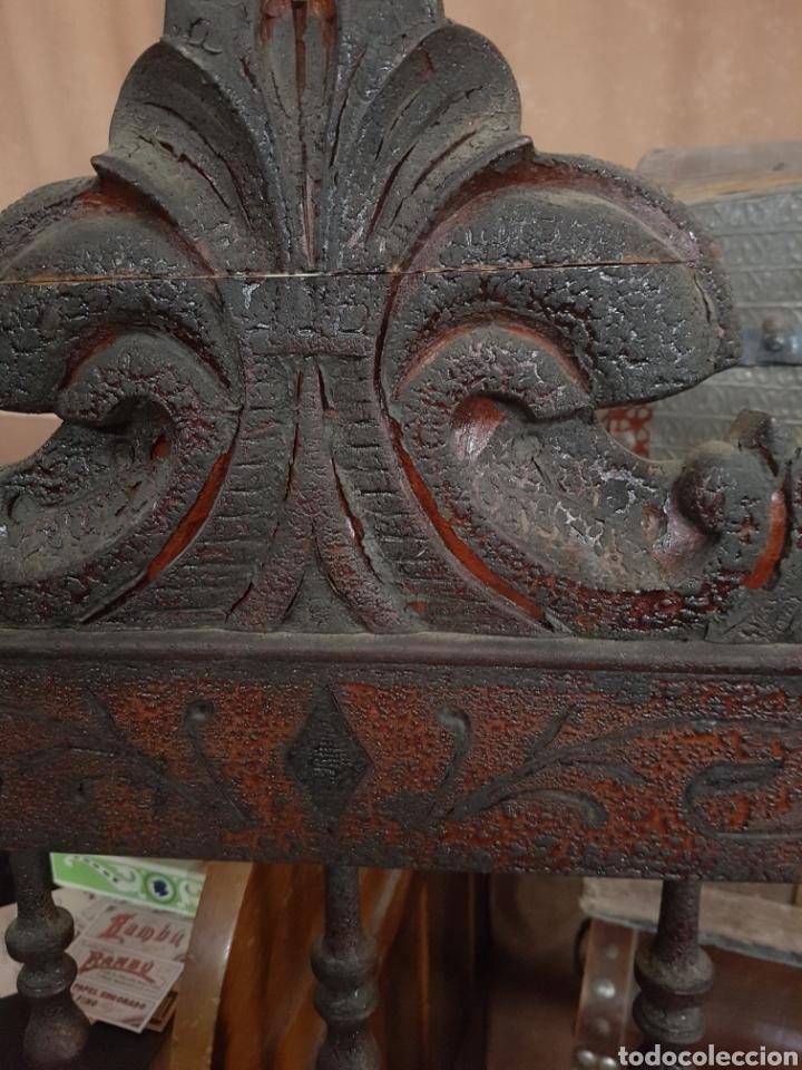 Antigüedades: ANTIGUO CABEZAL Y PIE DE CAMA, 120CM DE ANCHO TOTAL. - Foto 3 - 123046148