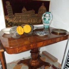 Antiquités: PRECIOSA MESA RECTANGULAR PEDESTAL OCTOGONAL IMPERIO - CAOBA CUBANA MACIZA - SIGLO XIX PERFECTA. Lote 123075599