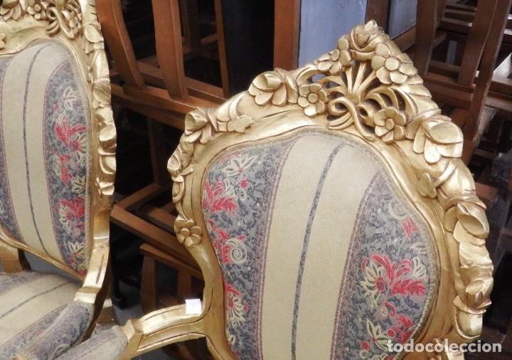Antigüedades: CONJUNTO DE SILLONES DORADOS ESTILO LUIS XV. - Foto 14 - 123124707