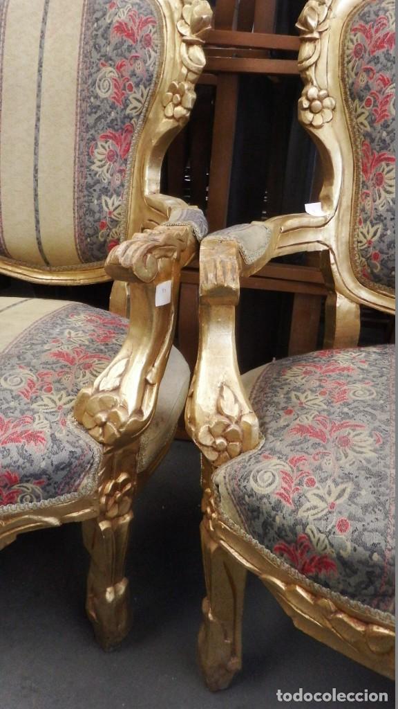 Antigüedades: CONJUNTO DE SILLONES DORADOS ESTILO LUIS XV. - Foto 15 - 123124707