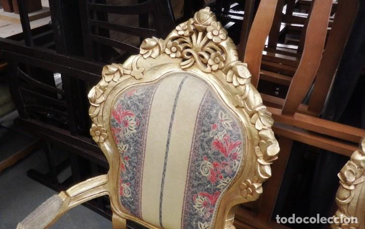 Antigüedades: CONJUNTO DE SILLONES DORADOS ESTILO LUIS XV. - Foto 16 - 123124707