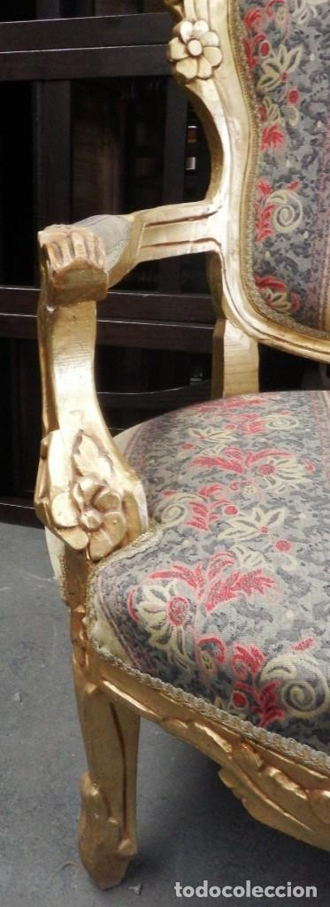 Antigüedades: CONJUNTO DE SILLONES DORADOS ESTILO LUIS XV. - Foto 17 - 123124707