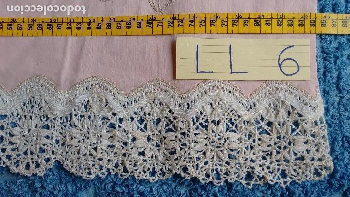 Antigüedades: Conjunto de sábana encimera y dos fundas de almohada. (LL-6) - Foto 5 - 123153999