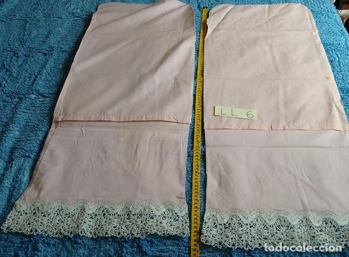 Antigüedades: Conjunto de sábana encimera y dos fundas de almohada. (LL-6) - Foto 8 - 123153999