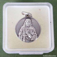 Antigüedades: MEDALLA DE PLATA. SAGRADO CORAZON Y VIRGEN MARIA. CIRCA 1960. . Lote 123304011