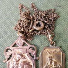 Antigüedades: PAREJA DE MEDALLAS RELIGIOSAS. VIRGEN MARIA Y SAN ANTONIO. METAL CHAPADO EN ORO. SIGLO XX. . Lote 123320507