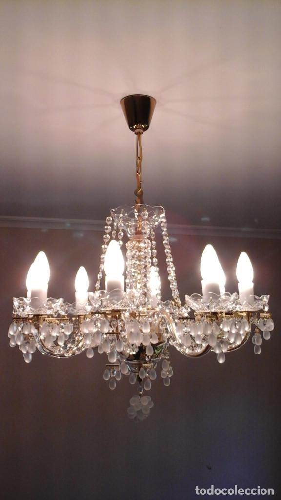 Antigüedades: LAMPARA DE TECHO DE CRISTAL DE BOHEMIA - Foto 2 - 123327531