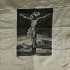 Antigüedades: CRISTO CRUCIFICADO. JACQUARD EN SEDA. CIRCA 1950. Lote 123344331