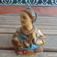 Antigüedades: BUSTO DE VIRGEN POLICROMADA EN ESTUCO O ESCAYOLA . Lote 123348159