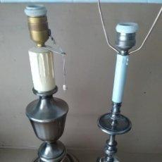 Antigüedades: 2 LAMPARAS ANTIGUAS DE MESA METÁLICAS. Lote 123349615