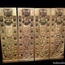 Antigüedades: ANTIGUA TABLA, ADORNO CON MOTIVOS VEGETALES. DORADO Y POLICROMADO. 173X55CM. RETABLO, BIOMBO.... Lote 145103380
