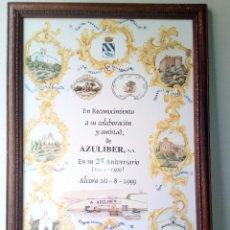 Antigüedades: CARTEL CONMEMORATIVO EN CERAMICA ALCORA AZULIBER S.A. Lote 123414407
