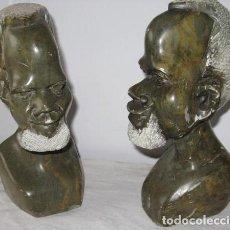 Antigüedades: PAREJA DE CABEZAS APOYALIBROS DE MÁRMOL 7 KG. Lote 123425899