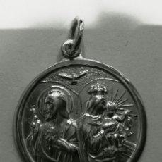 Antigüedades: MEDALLA ESCAPULARIO VIRGEN CARMEN Y SAGRADO CORAZON JUNTOS EN PLATA DE LEY - 20MM. Lote 123434823