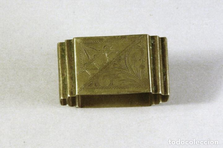 Antigüedades: lote de 4 servilleteros antiguos de plata con iniciales - Foto 2 - 123444627