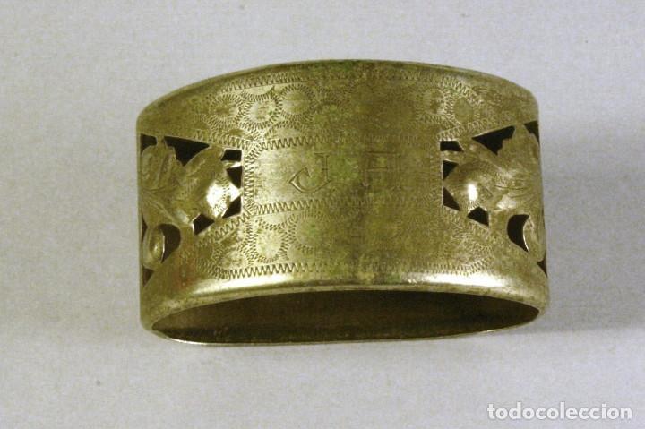 Antigüedades: lote de 4 servilleteros antiguos de plata con iniciales - Foto 3 - 123444627