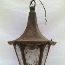 Antigüedades: ANTIGUO FAROL HIERRO FORJADO Y CRISTAL.. Lote 129110603