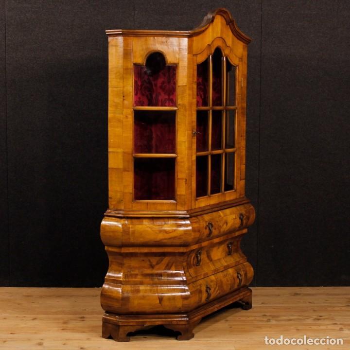 Antigüedades: Vitrina holandesa en madera de nogal, raíz de nogal y arce - Foto 5 - 123460211