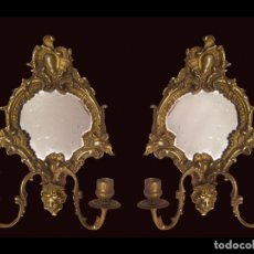 Antigüedades: CORNUCOPIAS-APLIQUES DE BRONCE IMPERIO CON CANDELABROS.. Lote 123464667
