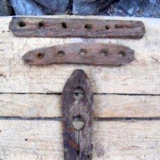 Antigüedades: 3 PIEZAS ANTIGUAS PARA BIELDOS BIELDAS Y ARTESA DE MADERA - APEROS RURALES CASTELLANOS. Lote 123513535