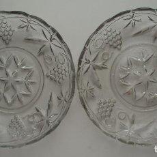 Antigüedades: 2 PLATOS DE DULCE. VIDRIO PRENSADO. CRISTAL DE SANTA LUCÍA. CARTAGENA, MURCIA.. Lote 123516659