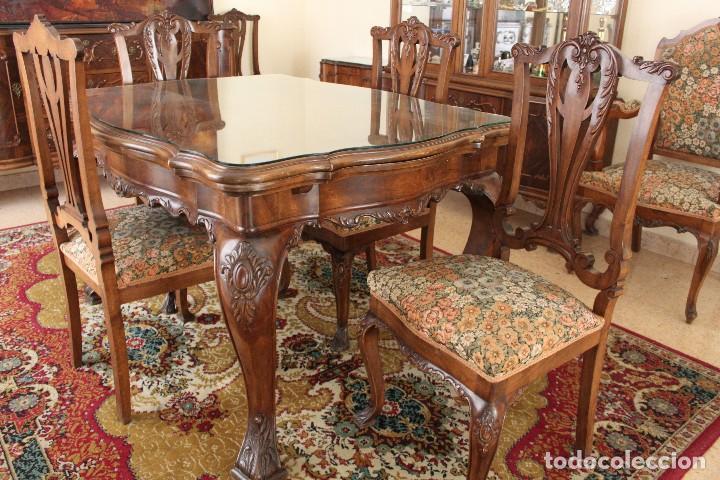 mesa comedor y 6 sillas luis xv color nogal - Comprar Mesas Antiguas ...