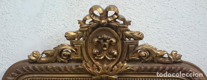Antigüedades: Espectacular espejo de madera isabelino dorado con copete dorado al oro fino. 160x93cm - Foto 3 - 123552019