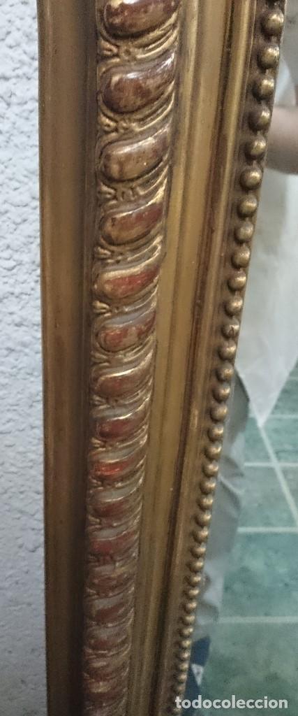 Antigüedades: Espectacular espejo de madera isabelino dorado con copete dorado al oro fino. 160x93cm - Foto 4 - 123552019