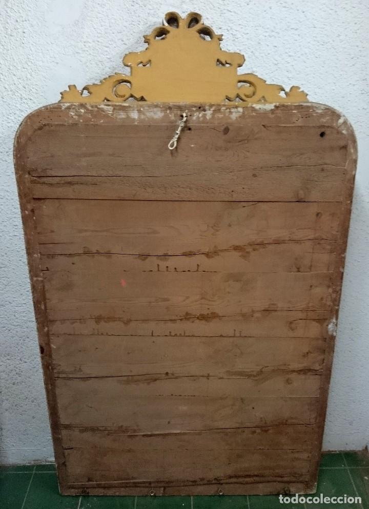Antigüedades: Espectacular espejo de madera isabelino dorado con copete dorado al oro fino. 160x93cm - Foto 5 - 123552019