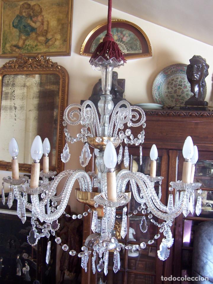 Antigüedades: Lámpara de cristal de la Granja principio de siglo XX de ocho brazos, funcionamiento en dos fases. - Foto 2 - 115507383