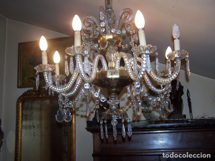 Antigüedades: Lámpara de cristal de la Granja principio de siglo XX de ocho brazos, funcionamiento en dos fases. - Foto 4 - 115507383