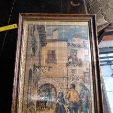 Antigüedades: GRAN MARCO MADERA O BAMBU TIPO ABANICO ENROLLABLE Y CRISTAL CON PERSIANA DE MADERA 55.5 X 37 CM . Lote 123585863