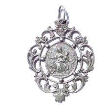 Antigüedades: MEDALLA RELIGIOSA EN PLATA.- 5,2 X 4,2 CM. Lote 123623163