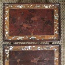 Antigüedades: MAGNIFICA PAREJA MESAS MESITAS CHINAS SIGLO XIX, INCRUSTACIONES MADREPERLA, CALIDAD EXCEPCIONAL. Lote 123665351