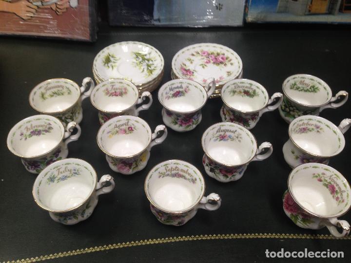 JUEGO COMPLETO 12 TAZAS Y PLATOS CAFE TE ROYAL ALBERT COLECCION FLORES DEL MES FLOWER OF THE MONTH (Antigüedades - Porcelanas y Cerámicas - Inglesa, Bristol y Otros)