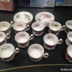Antigüedades: JUEGO COMPLETO 12 TAZAS Y PLATOS CAFE TE ROYAL ALBERT COLECCION FLORES DEL MES FLOWER OF THE MONTH . Lote 156500042