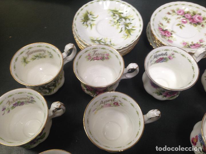 Antigüedades: JUEGO COMPLETO 12 TAZAS Y PLATOS CAFE TE ROYAL ALBERT COLECCION FLORES DEL MES FLOWER OF THE MONTH - Foto 2 - 156500042
